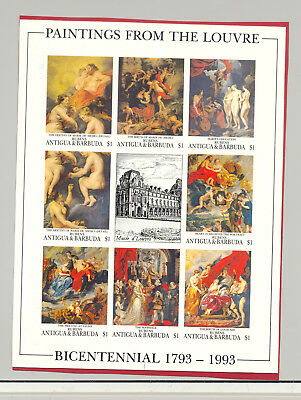 Antigua #1647 Paintings, Art 1v M/S of 8 Imperf Chromalin Proof Mounted on Paper