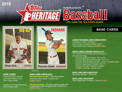2019 Topps Heritage MLB Trading Cards Pick From List 251-500 (Includes Rookies)