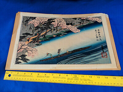 Old Signed Japanese Woodblock Print Utagawa Hiroshige Ten Views of Kyoto VTG