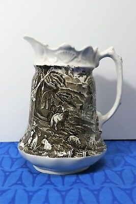 "James Kent OLD FOLEY 7 1/2"" Pitcher, JUG Village Scenes Black, 28 oz. EXC!"