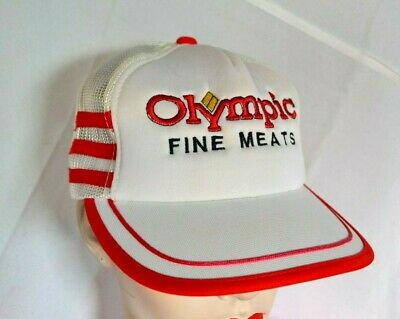 f89fa9fe8d6 Vintage Trucker Cap Snapback Mesh Hat White Red Embroidered Olympic Fine  Meats