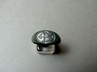 Ancient Bronze Ring With Monogram Byzantine 400-600 Ad