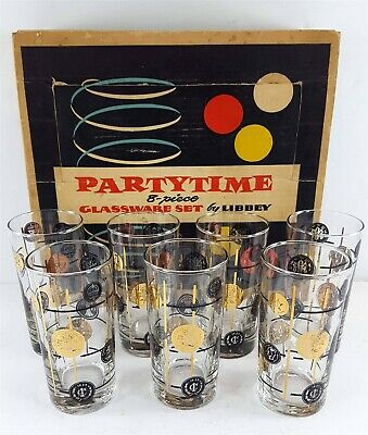 Libbey Partytime Set of 7 Old Coins 12.5 oz Tumblers Glassware MCM Gold & Black