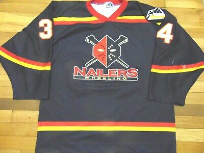 8abec8f273b00 VINTAGE AUTHENTIC ECHL OT WHEELING NAILERS HOCKEY JERSEY SIZE XL fight strap