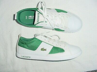 965c28887 Mens Lacoste Observe 2 White Leather Croc Green Sport Sneakers Shoes 10.5 M
