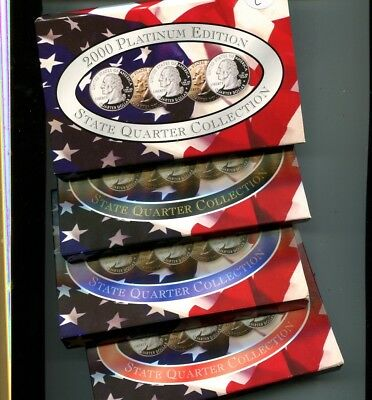 2000 State Quarter P + D Gold Platinum 5 Coin Set Lot Of 4 With Boxes