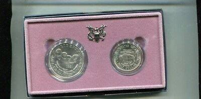 1991 Mount Rushmore Commemorative 2 Coin Set Proof Original Box + Coa Bu 1927L