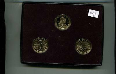 2003 P D S Native American 3 Coin Set Bu And Proof With Holder 4609L