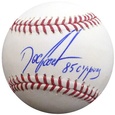 "Dwight ""Doc"" Gooden Autographed MLB Baseball Mets ""85 Cy Young"" PSA Q59500"