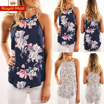 Womens Plus Size Strappy Blouse Sleeveless Floral Vest Shirt Tops Ladies Cami