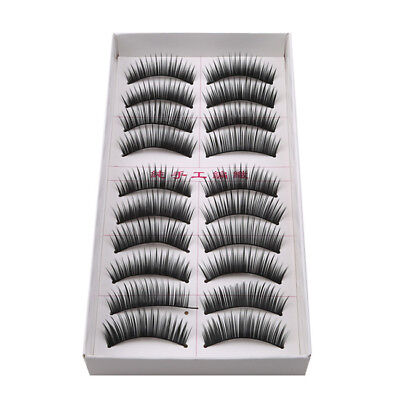 10 Pairs Black Handmade Fake Eyelashes Natural Thick Eyelashes B
