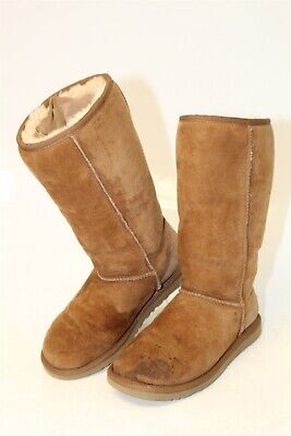 88e7dafd029f UGG Australia Womens 6 Classic Tall Suede Shearling Pull On Winter Boots  5815