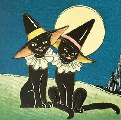 Halloween 2 Black Cats in Witches Hats Moon Old Art