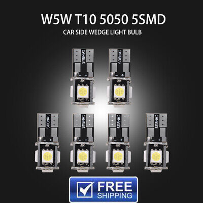 6Pcs T10 168 194 W5W White Led Canbus Error Free 5 SMD Car Side Wedge Light Bulb