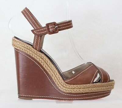 a3c57bb4bed 53242 AUTH CHRISTIAN LOUBOUTIN brown leather Platform Wedge Sandals ...