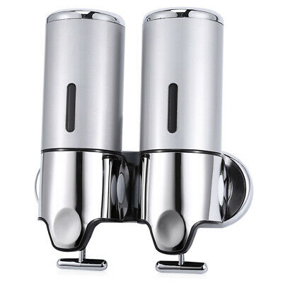 1000ml Stainless Steel Wall Mounted Dual Soap Dispenser Shampoo Lotion Container