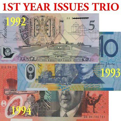 Australian Mint 1992-1994 First Year SET $5 + $10 + $20 Polymer Banknote Issues