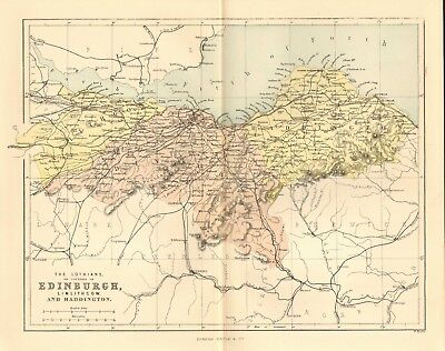 original 1868 colour map of the lothians or counties of edinburgh