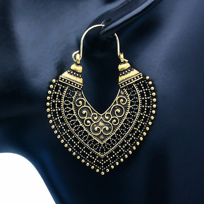 Women's Vintage Boho Style Tibetan Ethnic Carved Tassel Drop Dangle Earrings Hot