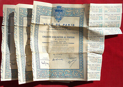 VILLE de PARIS 1948 : Lot de 3 Obligations   !