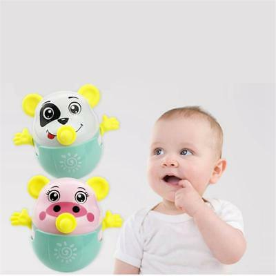 Baby Newborn Nodding Tumbler Doll Bell Rattles Roly-poly Learning Teether Toys B