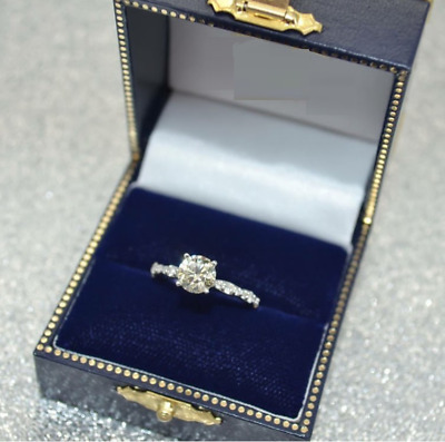 14K White Gold Over 1.20 Ct Round Cut Diamond Womens Wedding Engagement Ring