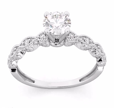 1.20 CT Round Cut VVS1 Diamond Wedding Engagement Ring 14K White Gold Over