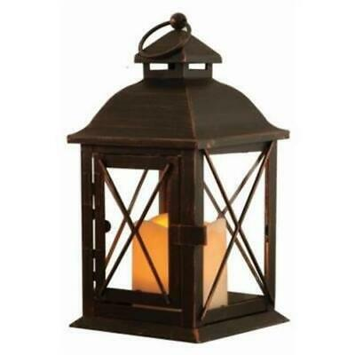 Smart Design 84035-LC Antique Brown Led Lantern With Timer Candle - 10 In.