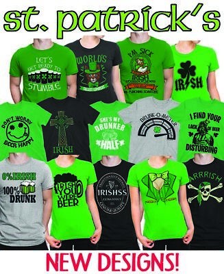 Mens Ladies Unisex Multi St Patricks Day T-Shirt Irish Ireland Paddy Leprechaun