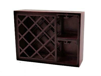 Melody Jane Dolls House Mahogany Wine Rack & Glass Holder Bar Pub Furniture 1:12
