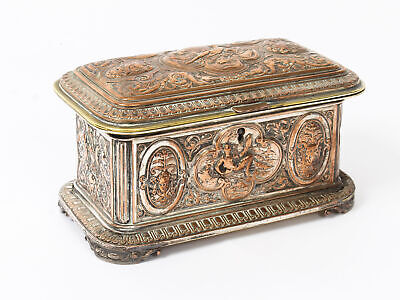 Antique Large French Gilt and Copper Casket 19thC