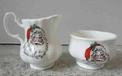 Vintage Jubilee China Made in England Santa Claus Porcelain Cream & Sugar