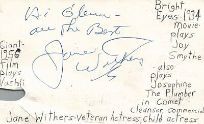 Autographs-original Jane Withers Actress Singer Tv Movie Autographed Signed Index Card