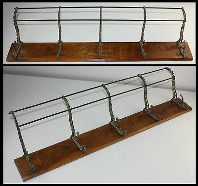 Antique 5 Hook Cast Iron &Wood Wall Mount Hat Coat Rack RR Home Cabin Office OLD