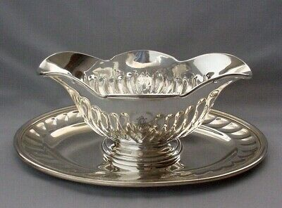 CHRISTOFLE FRANCE SILVERPLATE LARGE GRAVY SAUCE BOAT SWIRL PATTERN w/ PLATE