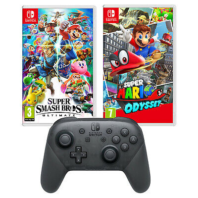 Nintendo Switch Super Smash Bros. Ultimate and Mario Odyssey and Pro Controller