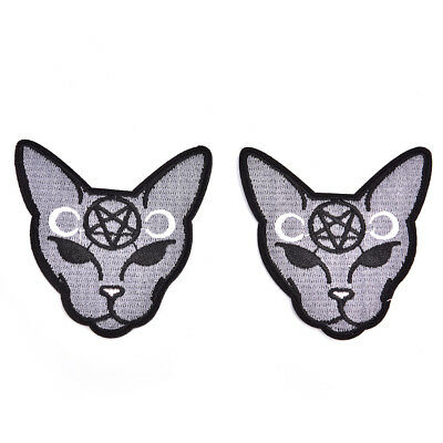 2pcs/lot Gothic Cat Sew Iron On Patch Embroidery Sewing DIY Halloween Appliq TO