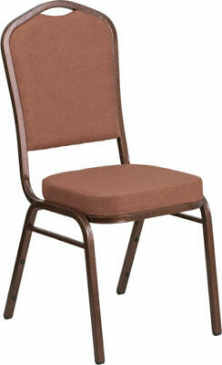 10 PACK Banquet Chair Brown Fabric Restaurant Chair Crown Back Stacking Chair