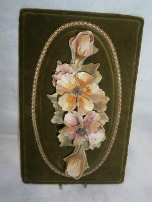 VINTAGE CAPODIMONTE VELVET WALL PICTURE w APPLIED BISQUE HANDPAINTED FLOWERS