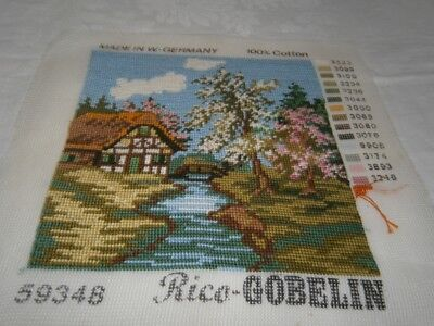 21 CM sq COMPLETED COTTON PETIT POINT TAPESTRY - ENGLISH COUNTRY COTTAGE GARDEN