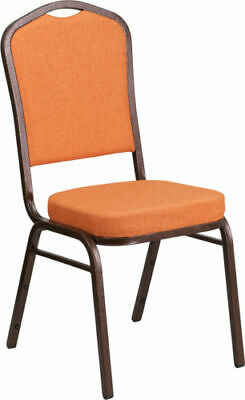 10 PACK Banquet Chair Orange Fabric Restaurant Chair Crown Back Stacking Chair