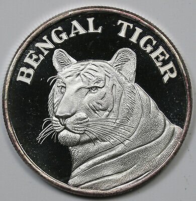Bengal Tiger 1 Ounce .999 Fine Silver Round 1 oz