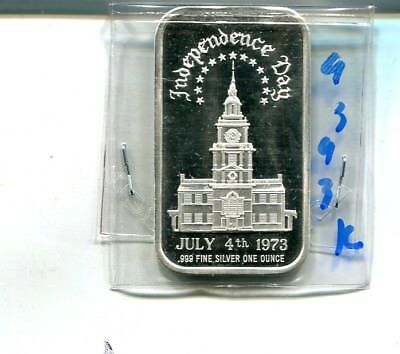1973 Independence Day July 4Th 1 Ounce .999 Fine Silver Bar 9393K