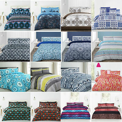 3 Pce Printed Quilt Doona Duvet Cover Set - SINGLE DOUBLE QUEEN KING Super King