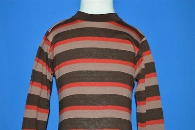 vintage 60s BROWN TAN RED STRIPED SURF LONG SLEEVE t-shirt 2 / 3 T TALL