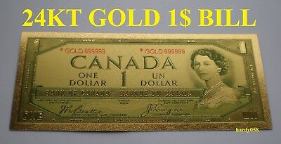 💰 Canada 1$ Banknote 24kt Gold Foil Bill Note with protector sleeve 🎁