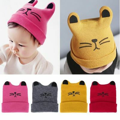 Baby Toddler Kids Boy Girl Winter Knitted Cat Crochet Ear Beanie Warm Hat Cap B