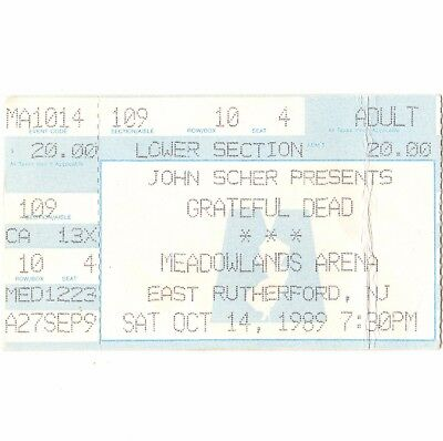 GRATEFUL DEAD Concert Ticket Stub E RUTHERFORD NJ 10/14/89 MEADOWLANDS ARENA