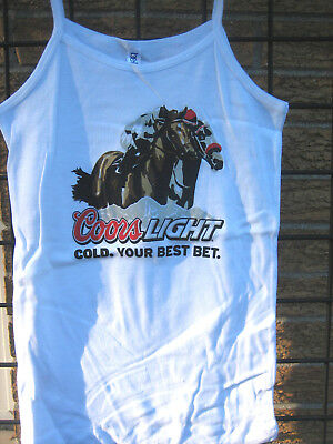 445ef96973cc5 Ladies COORS LIGHT Beer T Shirt HORSE Racing Top MD Equestrian kentucky  DERBY