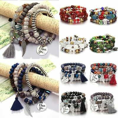 4Pcs Multilayer I Love You Natural Stone Crystal Bangle Beaded Bracelets Jewelry